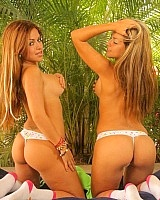 The Spice Twins take off their bra and lay around in their thongs. And damnnn do they look hawt in thongs.