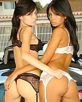 Karla and Stefi show off this hot car and their hot teen bodies