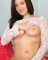 Sweet Krissy lifts her lace dress up to play with her huge perfect juicy tits