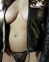 Beautiful Dana Hamm seduces you in your leather jacket