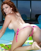 Heather Vandeven in a Pink Polka-dot Thong Bikini