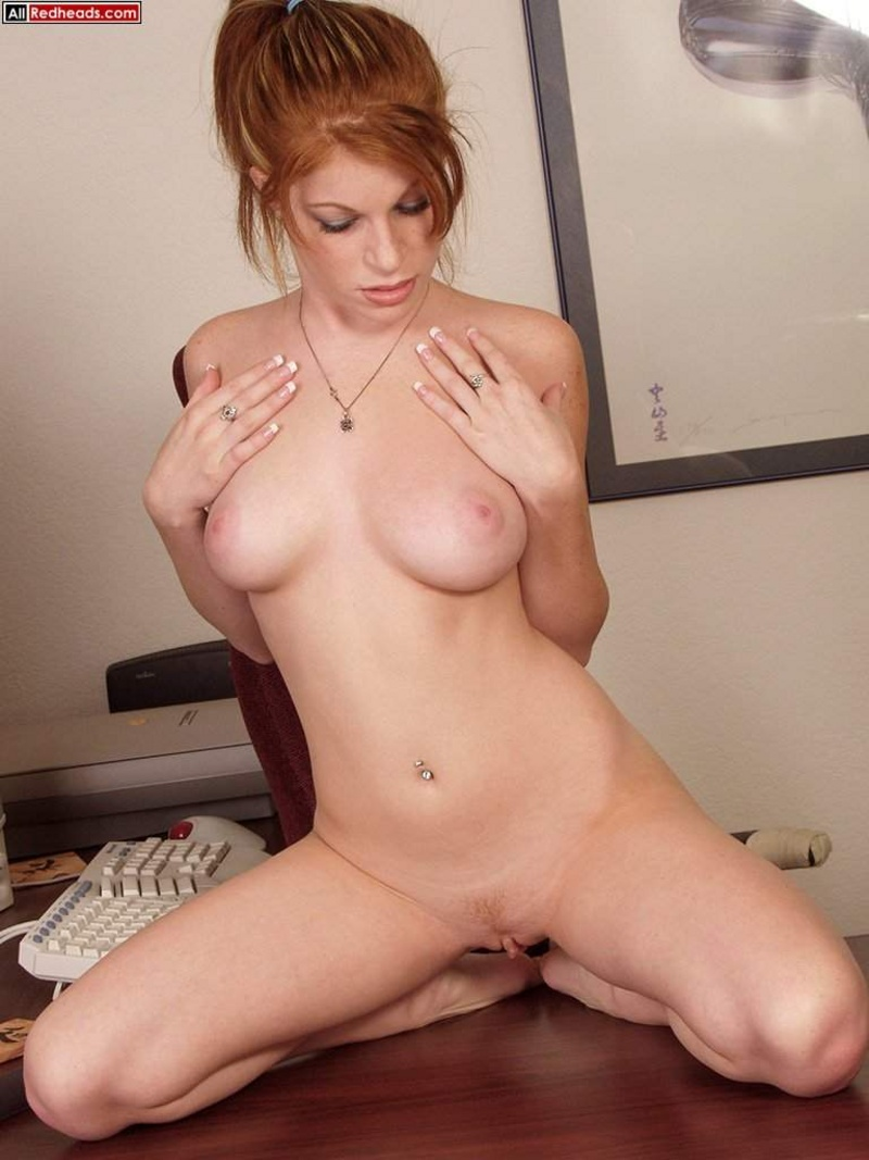 All Redheads Scarlet Spreads Shaved Pussy